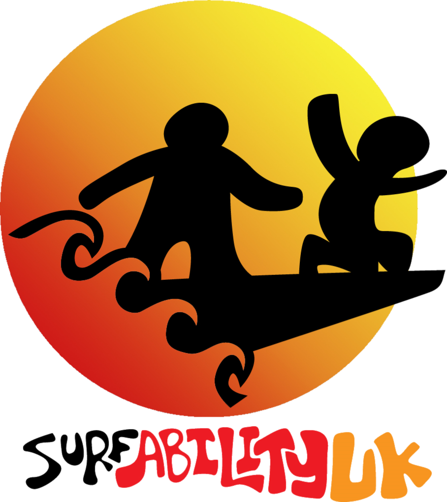Surfability logo with people furfing against an orange circle.