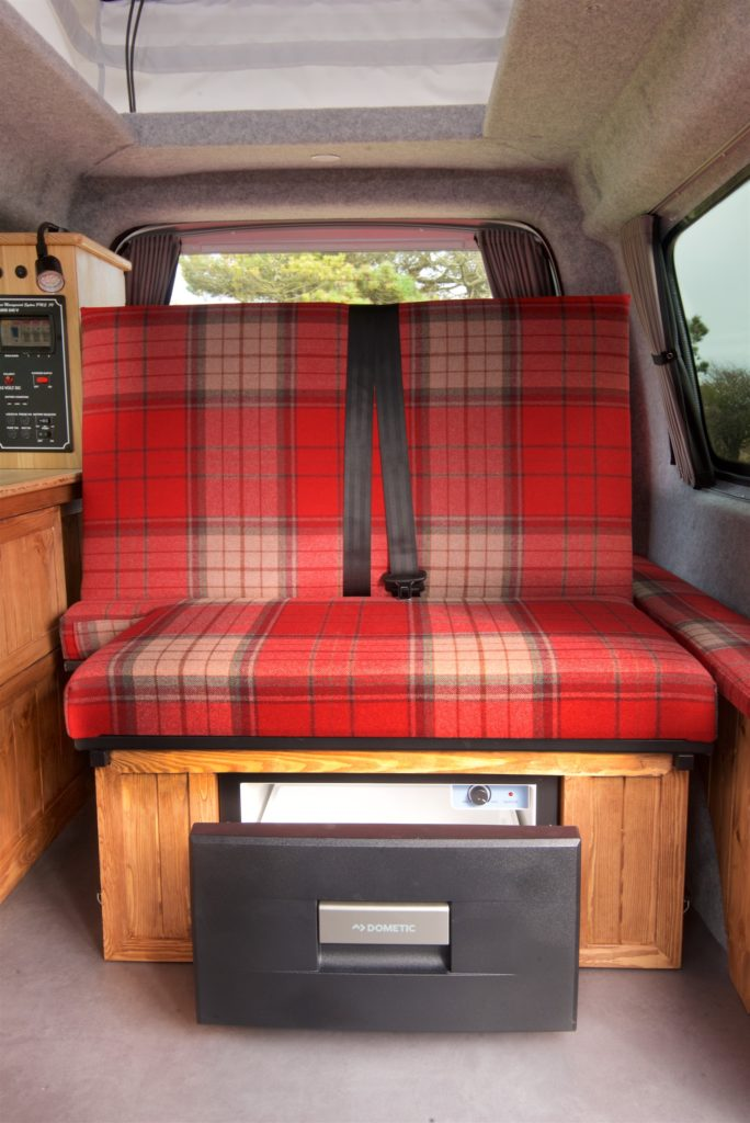 VW caddy campervan conversion seating and Dometic compressor fridge